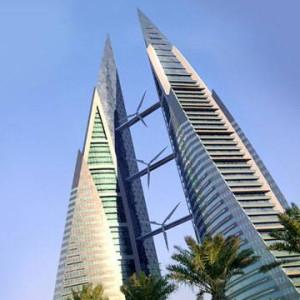 Hochhaus mit Windturbinen Bahrain